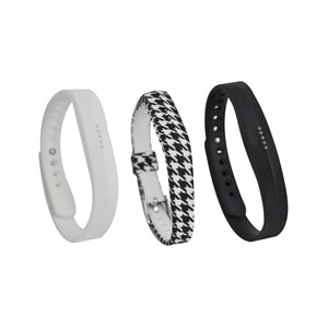 Affinity Fitbit Flex 2 Band 3pk TPU, Black / White Houndstooth