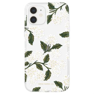 Case-Mate Rifle Paper Case for iPhone 12 Mini with Micropel, Hydrangea White