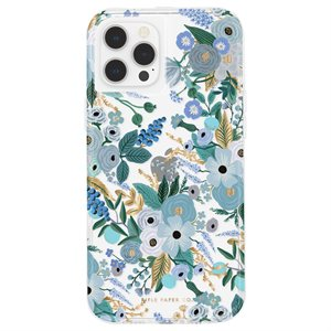 Case-Mate Rifle Paper Case for iPhone 12 / 12 Pro with Micropel, Garden Party Blue