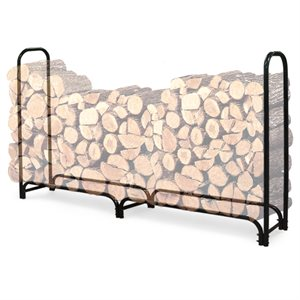 Landmann 8 feet Firewood Rack 2 Bottom Sections Fitted Cover Included- Black