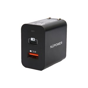 NÜPOWER AC Charger Quick Charge 3.0 and Power Delivery 18W, Black
