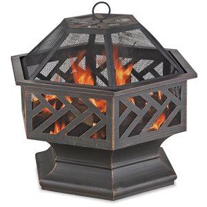 Endless Summer Oil Rub Bronze Firebowl with Geometric Design